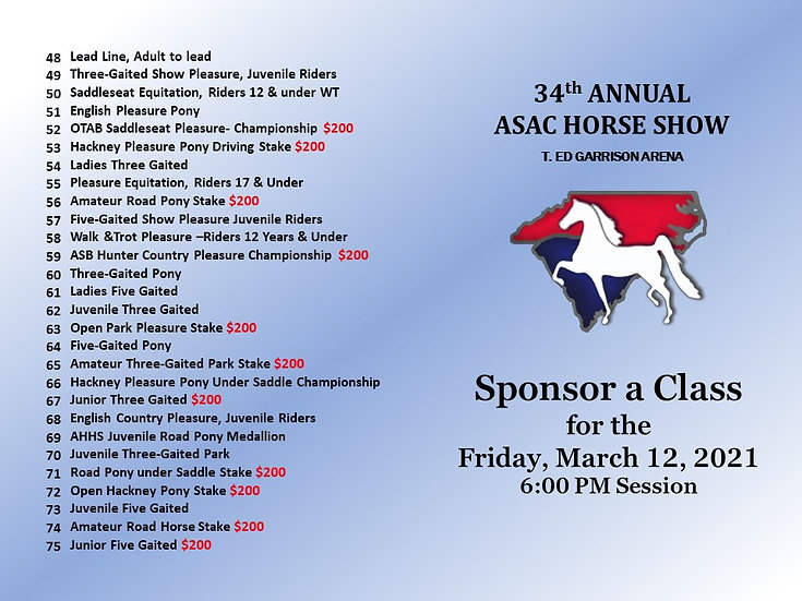 ASAC- Sponsor a Class for the Friday PM Session