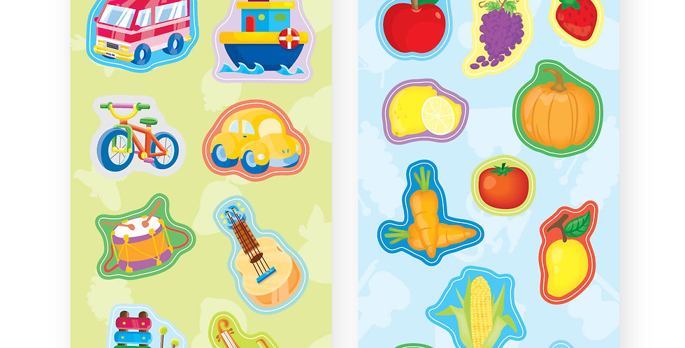 Chipboard Cut-outs (Transportations, Instrument, Fruits & Vegetables)