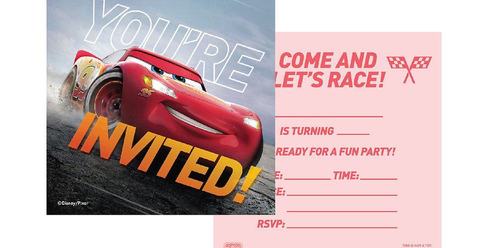 Cars Party Invitation Cards (6 sets)