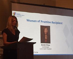 Global BC's News Director Jill Krop announcing Woman of Promise award recipient Dr. Annie Chou