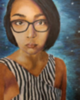Acrylic, Shiloh Rosario, Self Portrait inspired by Van Gogh, exhibited in Frankie Weems Art Gallery