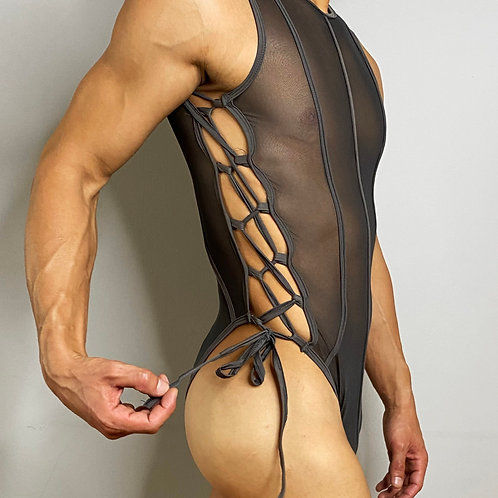 GREY MESH BODY SUIT
