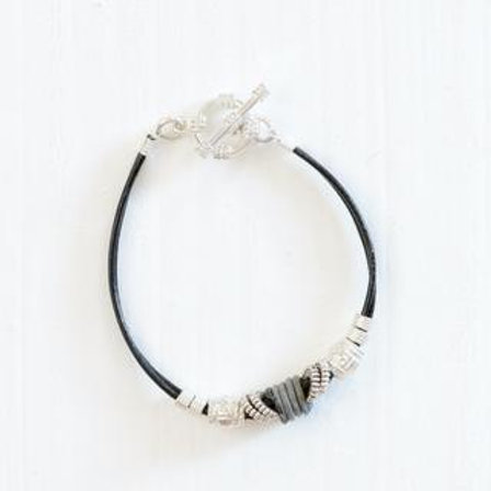 Simple Leather & Snarewire Bracelet