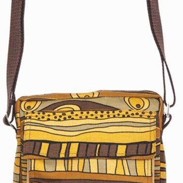 Shoulder Bag with Strap - Elephant Retro Print