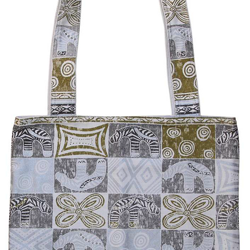Carrier Bag - Zebra Block Print