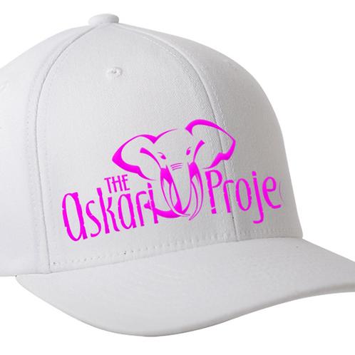 Askari Flexfit Cap - White (pink logo)