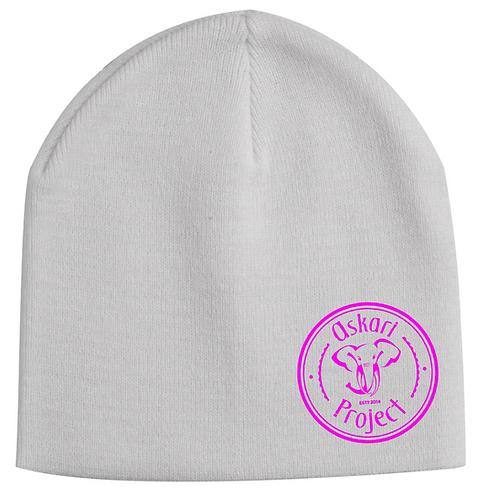 Askari Beanie - White 12' with cuff (pink logo)