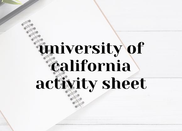 University of California Activity Sheet