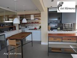 Quartzo Stone Branco Integração Cozinha e Churrasqueira