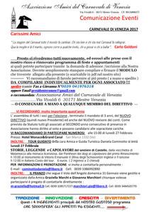 EVENTI CARNEVALE di Venezia 2017