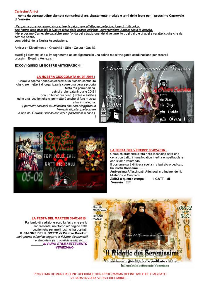 PRIMA COMUNICAZIONE e anticipazioni per il carnevale di Venezia 2016