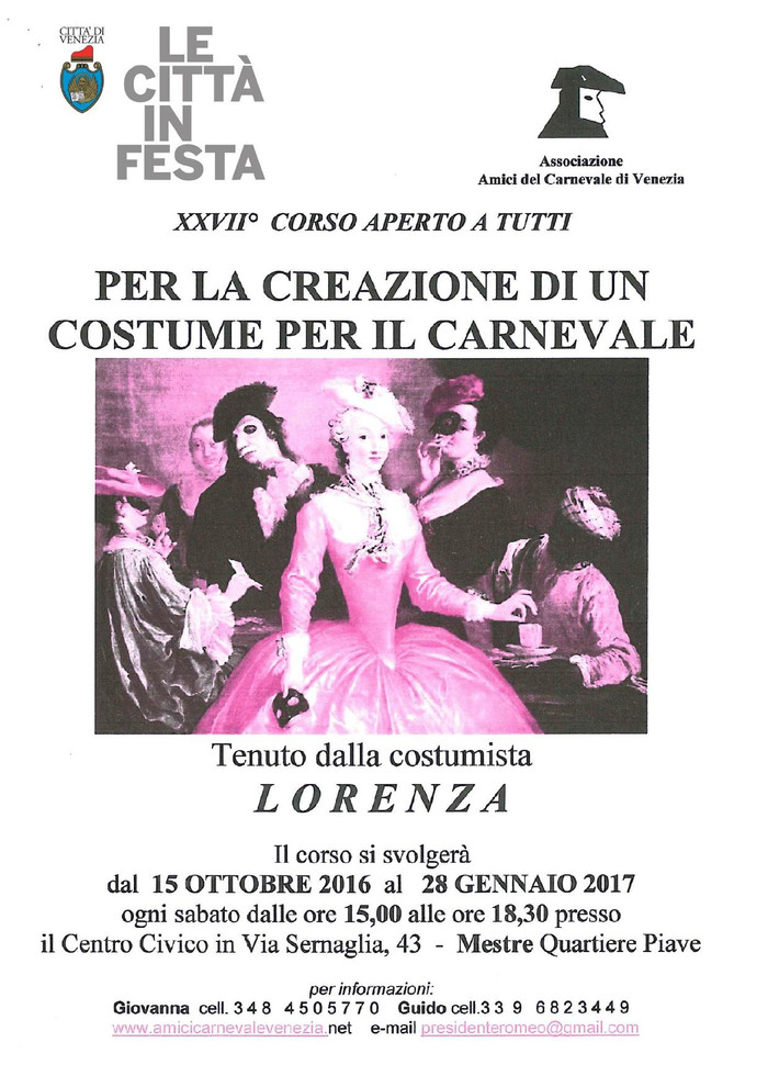 ATTENZIONE !!! ripartirà il corso per aiutarvi a confezionare un costume storico !!! AFFRETTATEVI