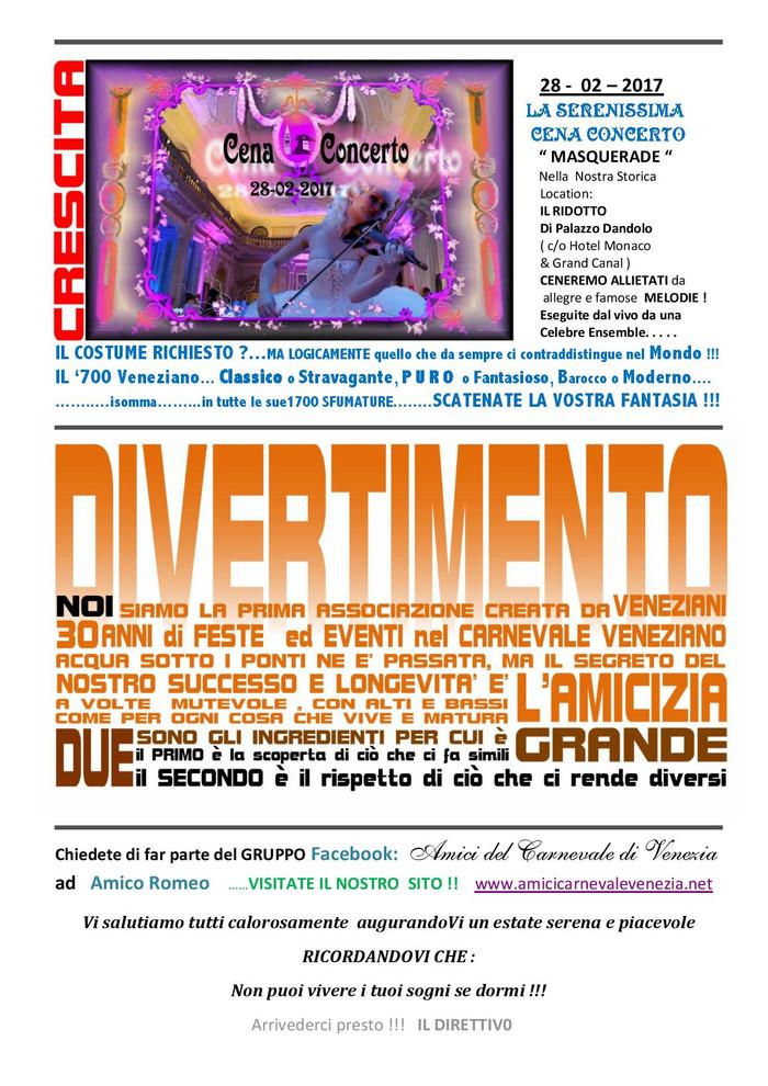 Prima Comunicazione 2016 e                      NOSTRE anticipazioni per il Carnevale Veneziano 2017