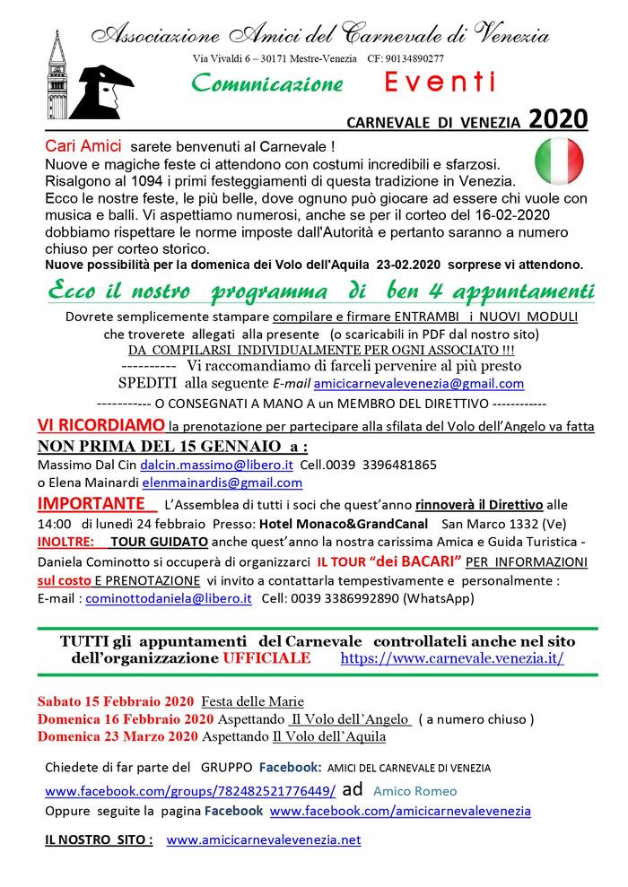 IL NOSTRO PROGRAMMA DI INCONTRI ED EVENTI NEL CARNEVALE DI VENEZIA 2020