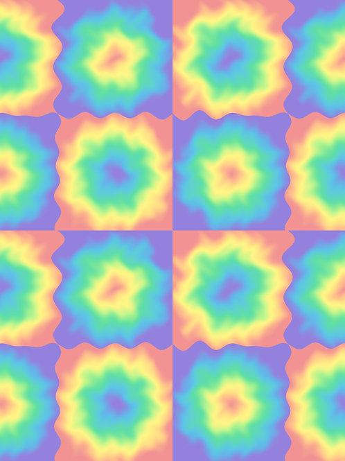 Retro Tie Dye Checkerboard - Pastel