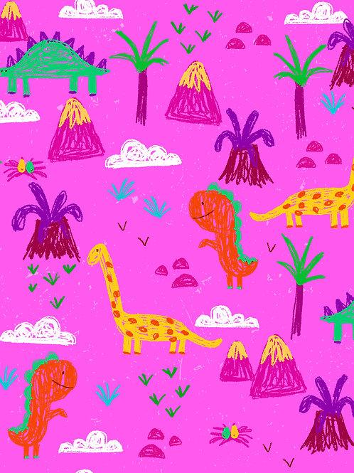 Sketchy Drawn Dinos - Pink
