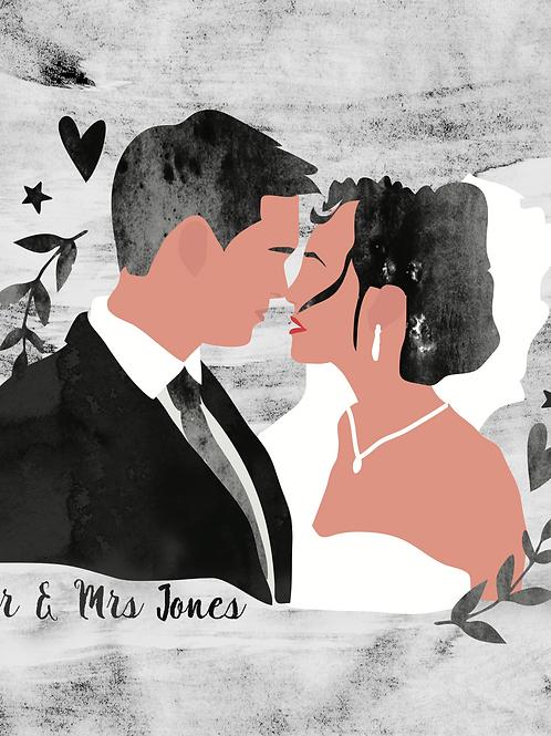 Wedding Couple Watercolour Portrait