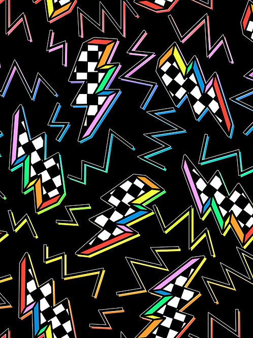 Checkerboard Print Bolts - Black