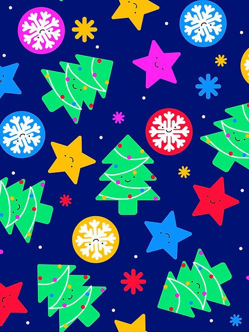 Cute Kawaii Christmas - Bright Blue