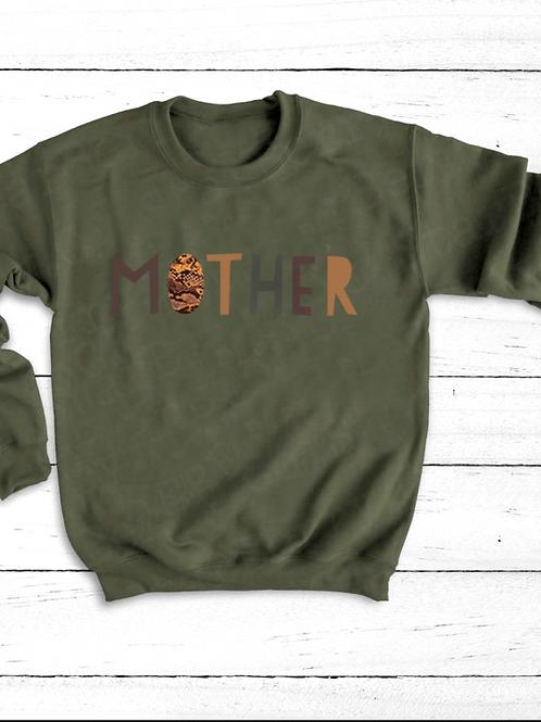 Snakeskin Print Mother Crew Neck Jumper