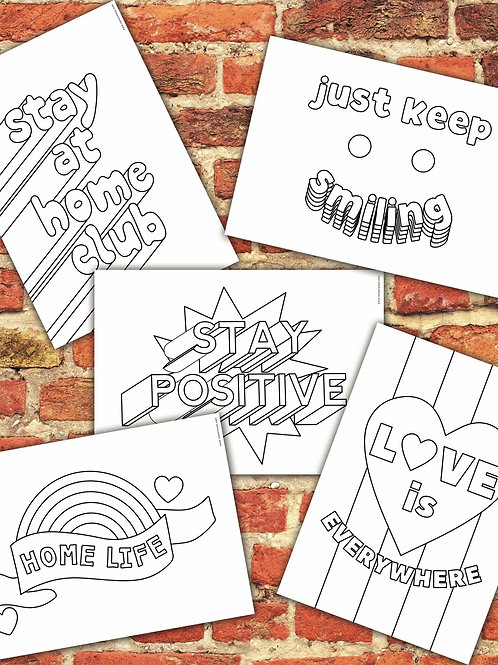 5 x Self Isolation Colouring Pages