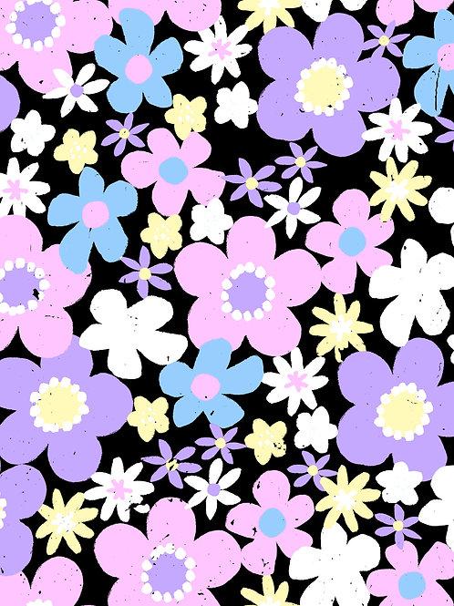 Ditsy Floral - Black Pastels