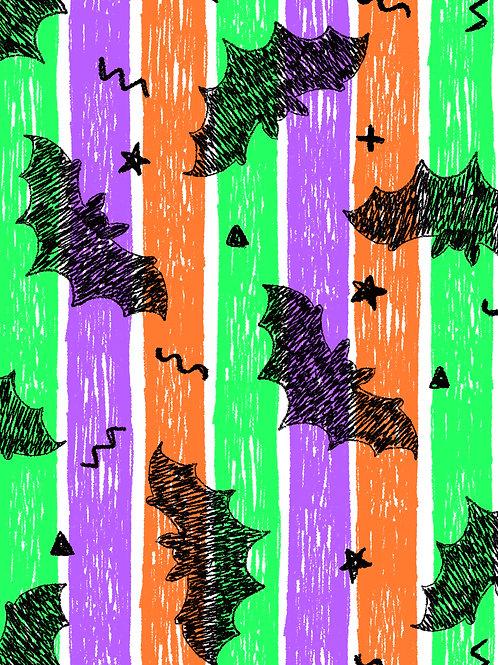 Drawn Bats - Halloween Stripes
