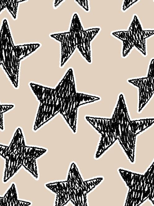 Drawn Stars - Cream Black