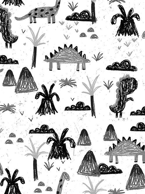 Sketchy Drawn Dinos - White