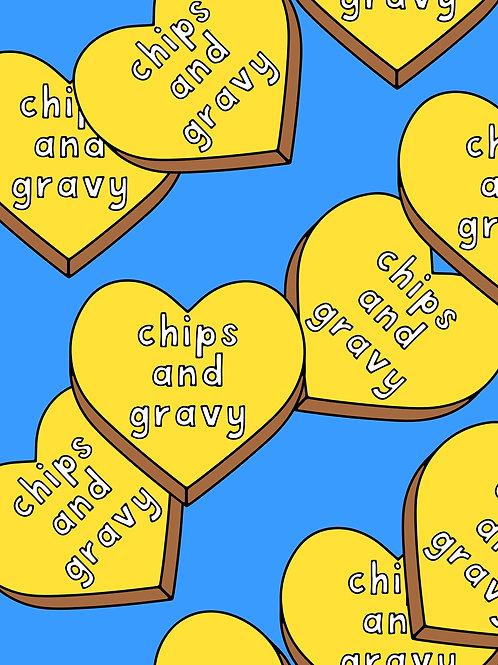 Slogan Hearts - Chips and Gravy