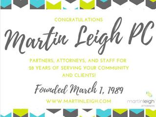 Martin Leigh PC Celebrates 28 Years!