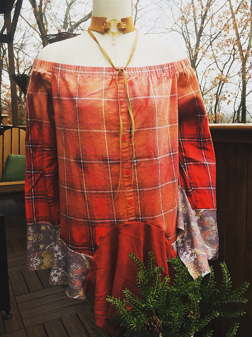 Flannel Off-The-Shoulder Tunic