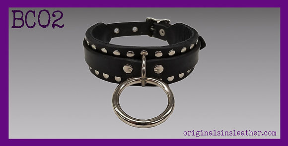 One Ring Collar with Rivet Border