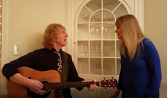 Dan and Debra of Red & Yellow Music, Simsbury, CT performing at an assisted living / senior center for a mature audience.