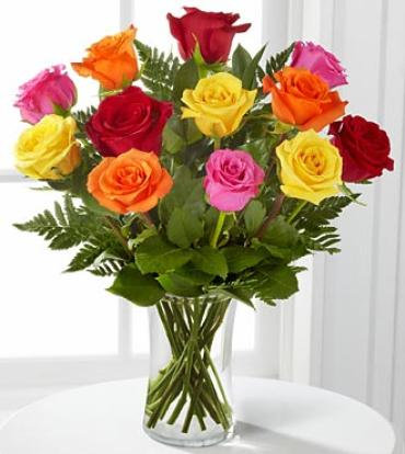 Valentine's Day - 1 Dozen Long Stem Mixed Roses
