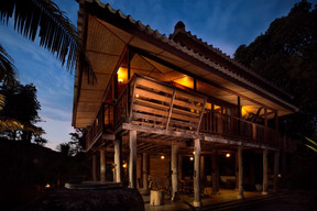 Wooden house by night