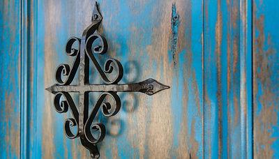 Turquoise Painted Distressed Door.JPG