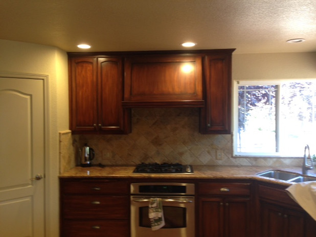 Before ~ Dark Stained Cabinets