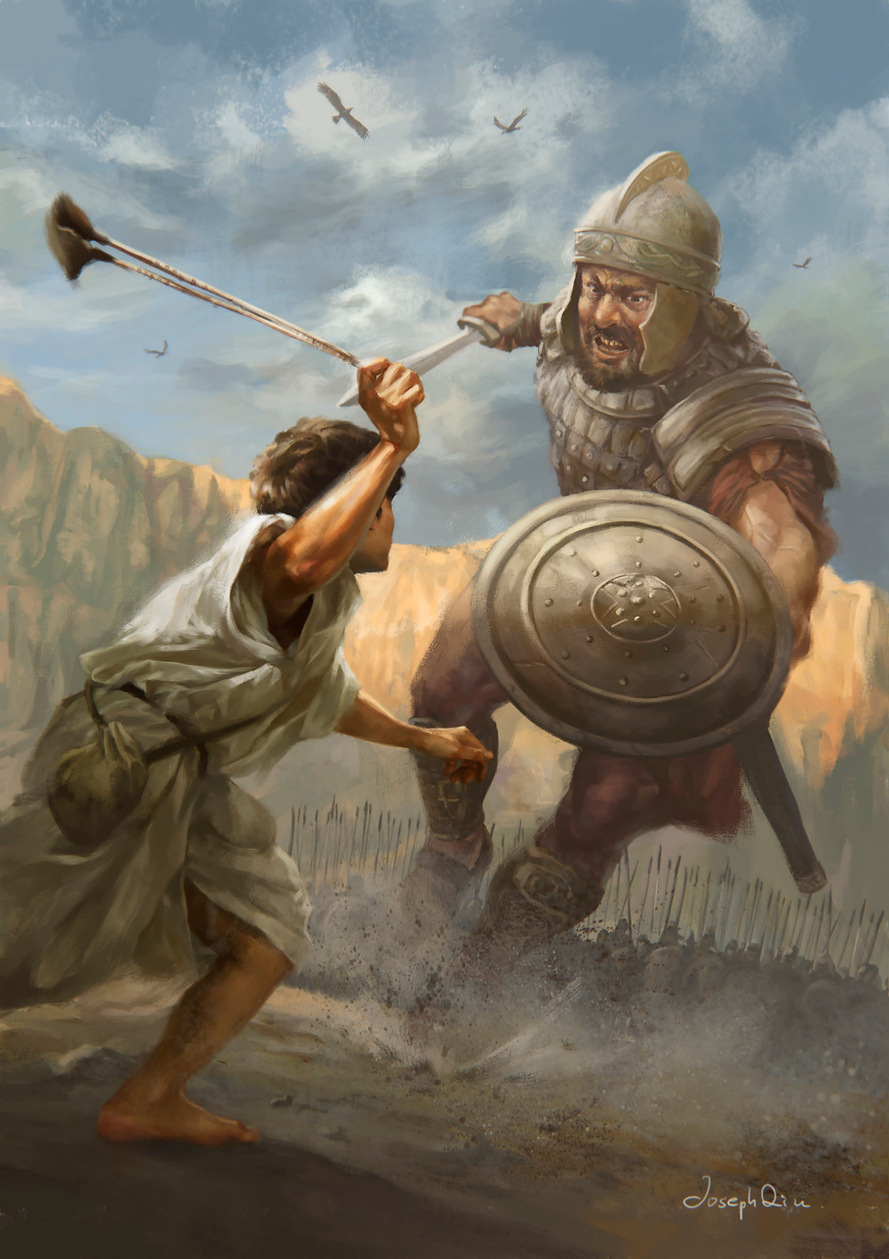David and Goliath, Painting, fighting, boy and man