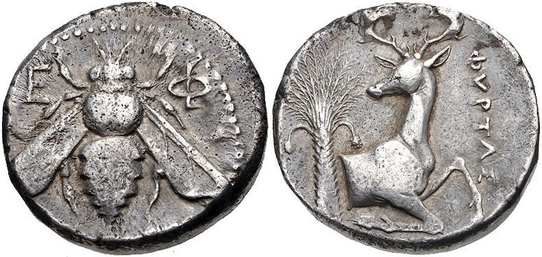 Ancient coin from Ephesus.  Features a bee, a stag, and a date tree, which are the symbols of Goddess Artemis.