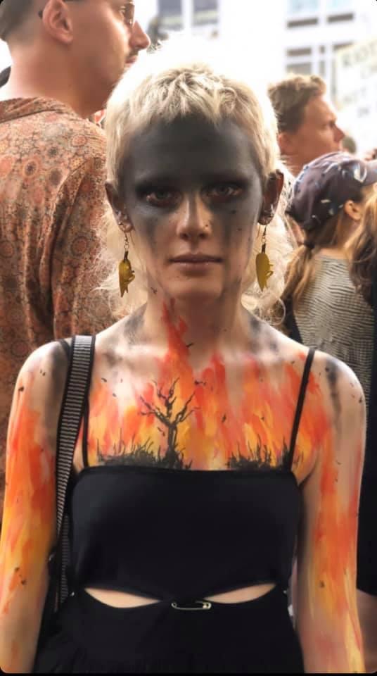 Woman, Makeup, Climate Change Rally
