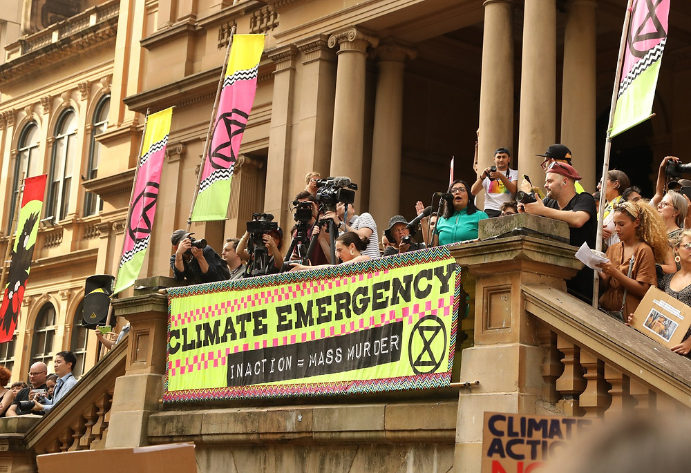 Protest, Public Building, Banner, Climate Change Rally