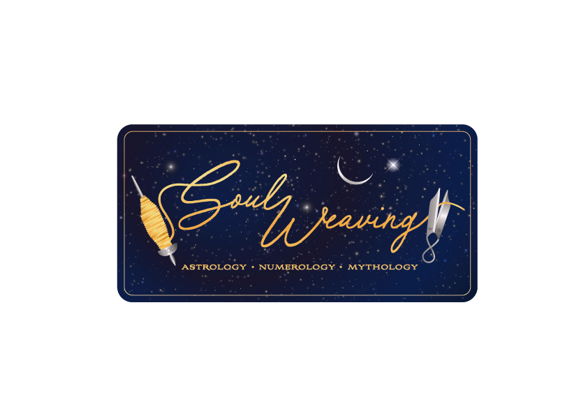 Soul Weaving logo, Moon and Venus in a starry night, spindle, scissors
