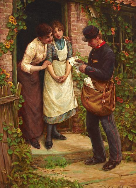 Two women eagerly wait while a postman sorts their mail for them.  Painting by Thomas Liddall Armitage from 1891.