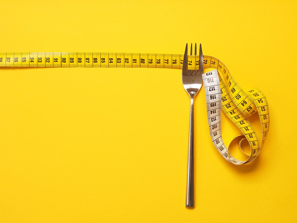 Fork with a measuring tape, diet or heal