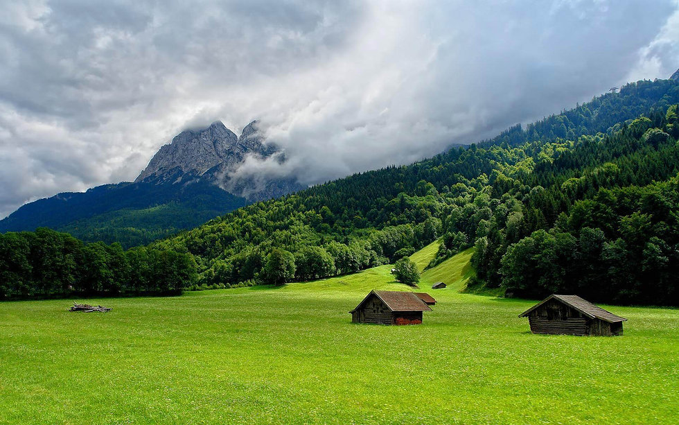 Pristine rural countryside, greenery, mountain backdrop