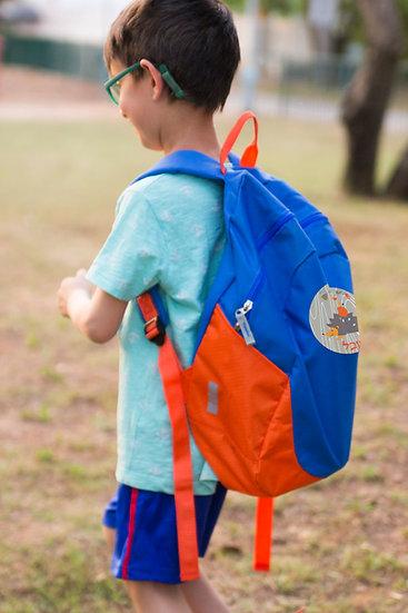 תיק עם שם הילד בהתאמה אישית בצבע כחול כתום