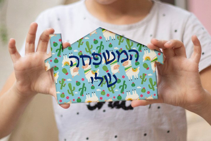 שלט מעוצב מאוייר לבית ולחדר ילדים קקטוסים ולאמות