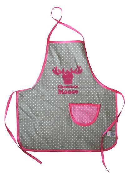 """סינר בישול לילדים - אפור עם """"chocolate moose"""" ורוד"""