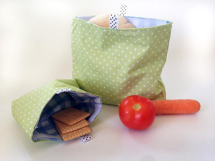 שקית אוכל רב פעמית גדולה - ירוק נקודות